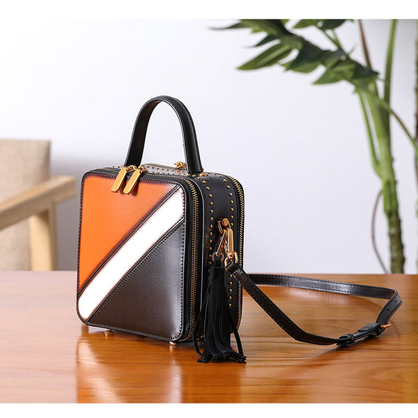 Women Cube Bag Leather Crossbody Bags Shoulder Bag Purses for Women Brown