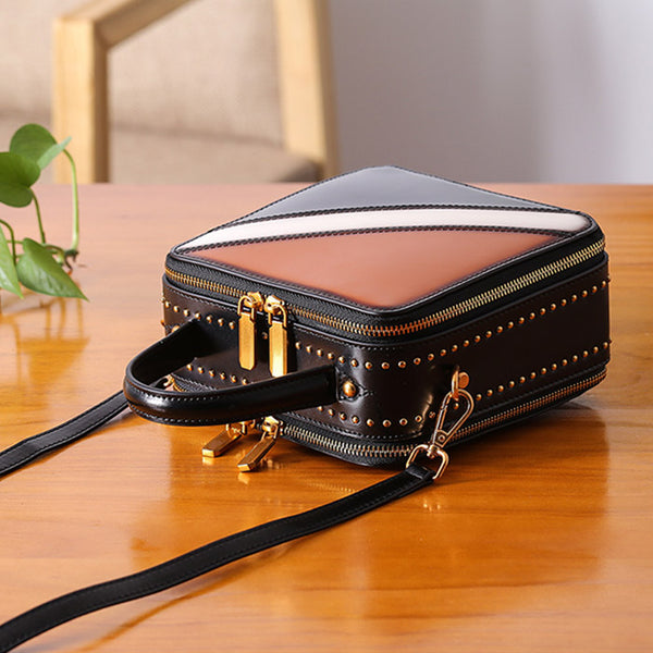 Women Cube Bag Leather Crossbody Bags Shoulder Bag Purses for Women Chic