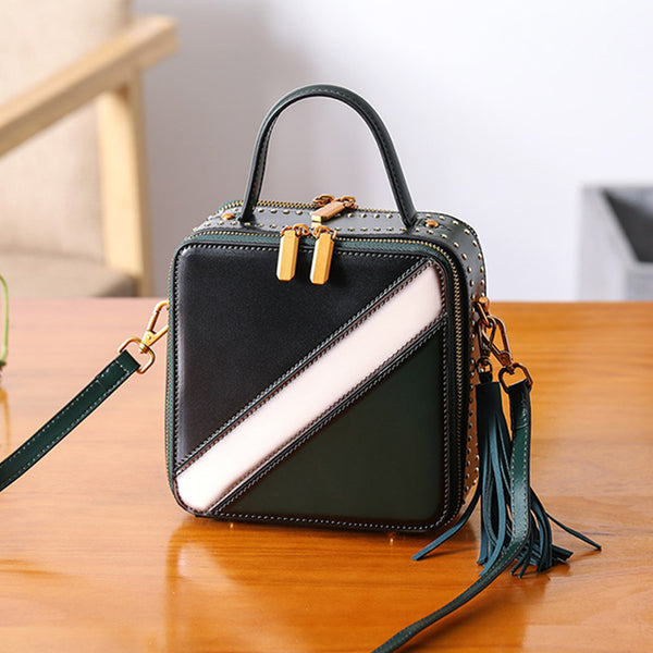 Women Cube Bag Leather Crossbody Bags Shoulder Bag Purses for Women Genuine Leather