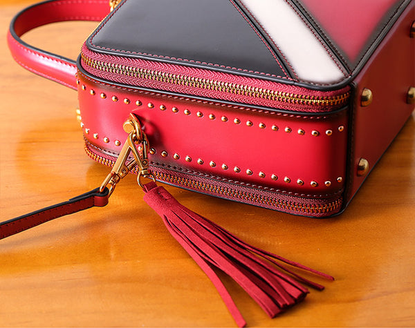 Women Cube Bag Leather Crossbody Bags Shoulder Bag Purses for Women Handmade
