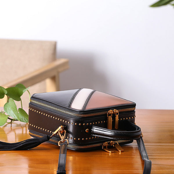 Women Cube Bag Leather Crossbody Bags Shoulder Bag Purses for Women cowhide