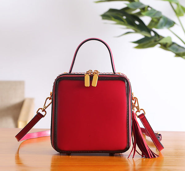 Women Cube Bag Leather Crossbody Bags Shoulder Bag Purses for Women small