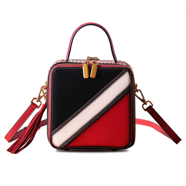 Women Cube Bag Leather Crossbody Bags Shoulder Bag Purses for Women
