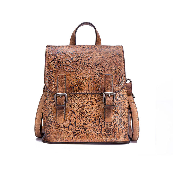 Women Dyeing Leather Backpack Handbags Cool Backpacks for Women Brown