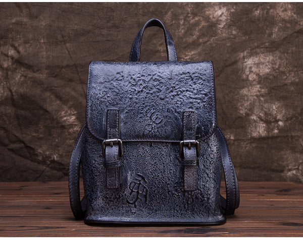 Women Dyeing Leather Backpack Handbags Cool Backpacks for Women Genuine Leather