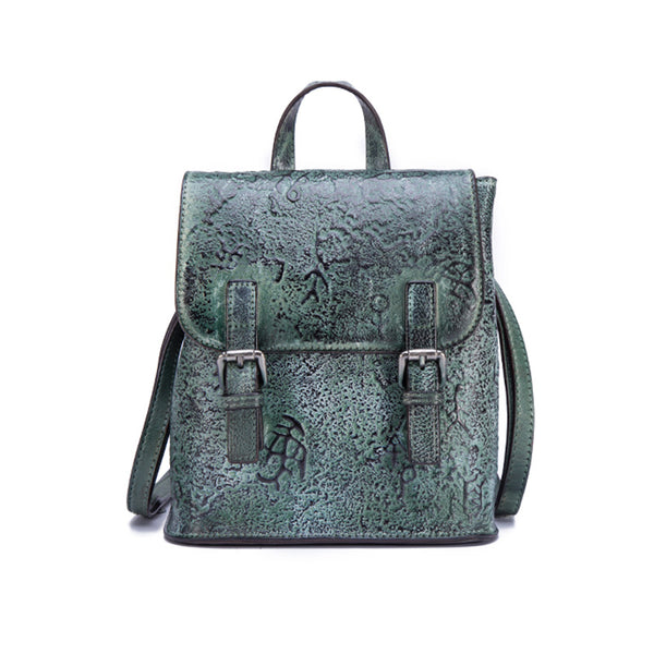 Women Dyeing Leather Backpack Handbags Cool Backpacks for Women Green