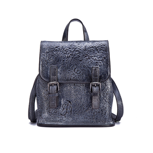 Women Dyeing Leather Backpack Handbags Cool Backpacks for Women Grey