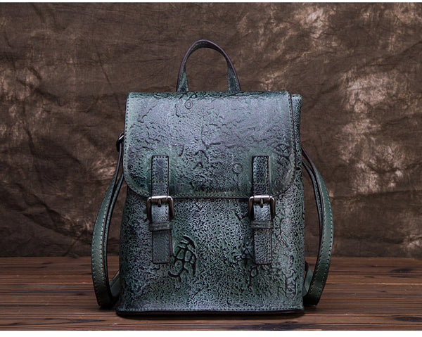 Women Dyeing Leather Backpack Handbags Cool Backpacks for Women Handmade