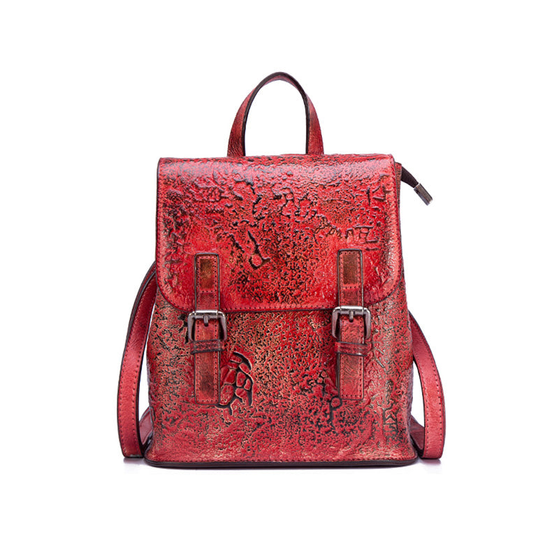 Women Dyeing Leather Backpack Handbags Cool Backpacks for Women Red