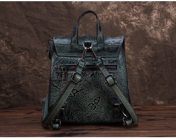 Women Dyeing Leather Backpack Handbags Cool Backpacks for Women Vintage