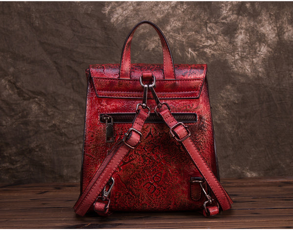 Women Dyeing Leather Backpack Handbags Cool Backpacks for Women designer