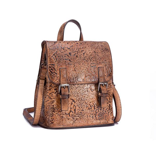 Women Dyeing Leather Backpack Handbags