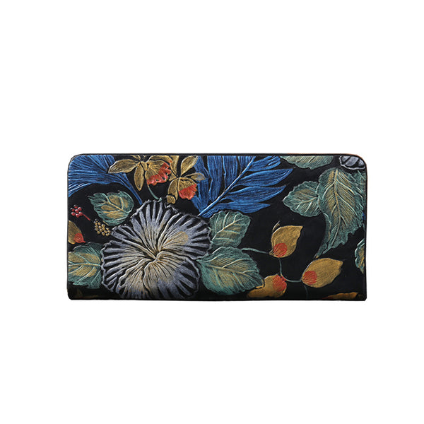 Women Embossed leather Zip Wallets
