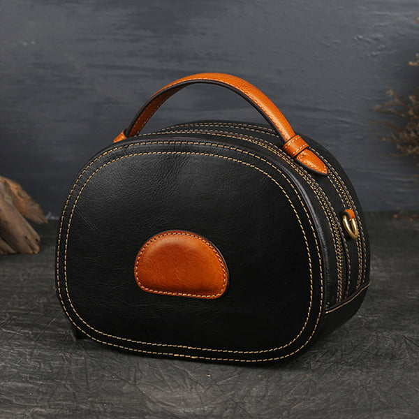 Women Genuine Leather Circle Bag Crossbody Bags Purses for Women cool