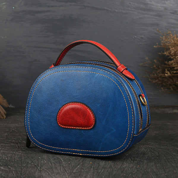 Women Genuine Leather Circle Bag Crossbody Bags Purses for Women