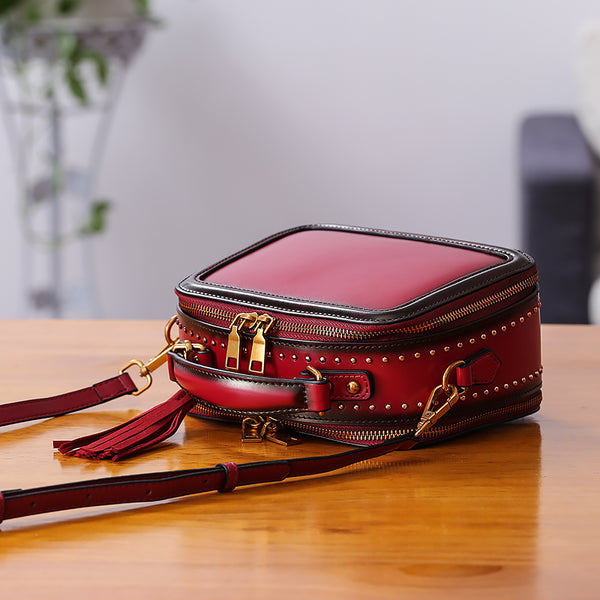 Women Genuine Leather Crossbody Bags Cube Bag Shoulder Bag Purses Accessories