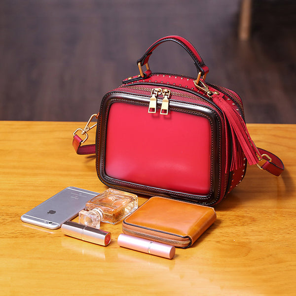 Women Genuine Leather Crossbody Bags Cube Bag Shoulder Bag Purses Boutique