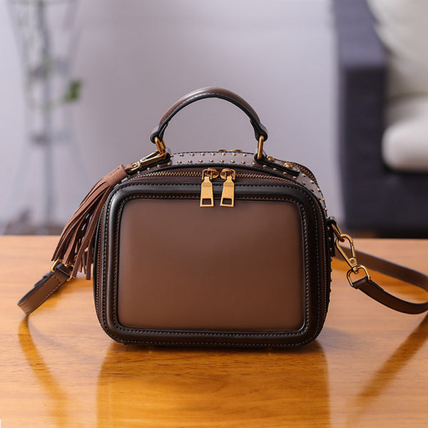 Women Genuine Leather Crossbody Bags Cube Bag Shoulder Bag Purses Brown