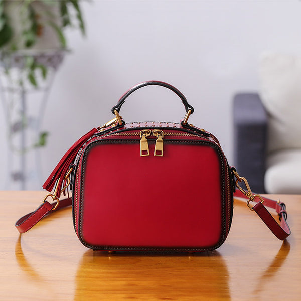 Women Genuine Leather Crossbody Bags Cube Bag Shoulder Bag Purses Chic