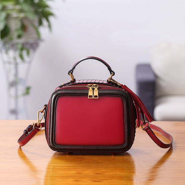 Women Genuine Leather Crossbody Bags Cube Bag Shoulder Bag Purses Designer