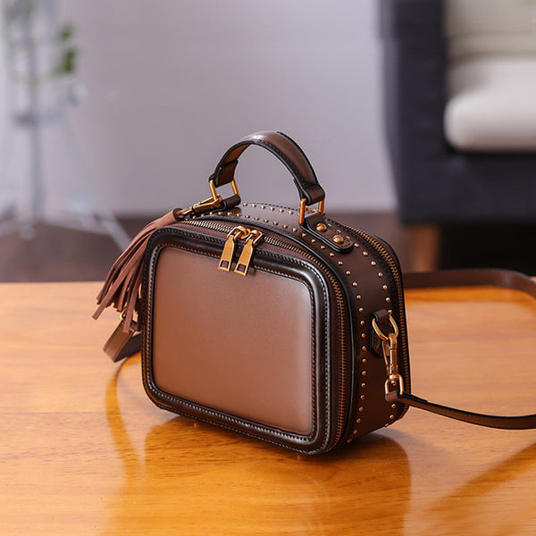 Women Genuine Leather Crossbody Bags Cube Bag Shoulder Bag Purses Details