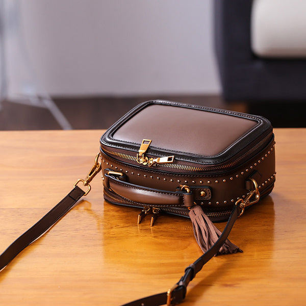 Women Genuine Leather Crossbody Bags Cube Bag Shoulder Bag Purses Genuine Leather