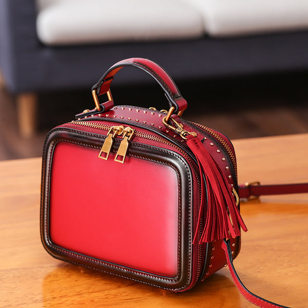 Women Genuine Leather Crossbody Bags Cube Bag Shoulder Bag Purses beautiful