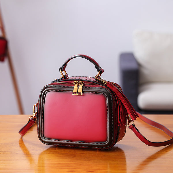 Women Genuine Leather Crossbody Bags Cube Bag Shoulder Bag Purses