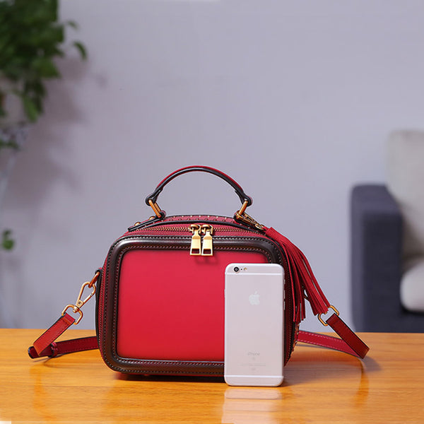 Women Genuine Leather Crossbody Bags Cube Bag Shoulder Bag Purses cool