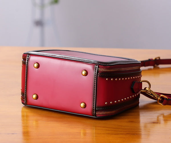 Women Genuine Leather Crossbody Bags Cube Bag Shoulder Bag Purses cute