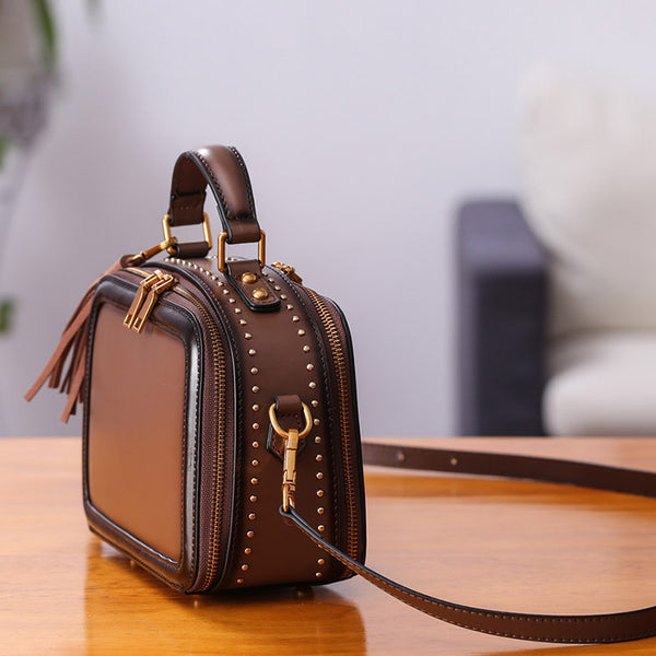 Women Genuine Leather Crossbody Bags Cube Bag Shoulder Bag Purses fashion