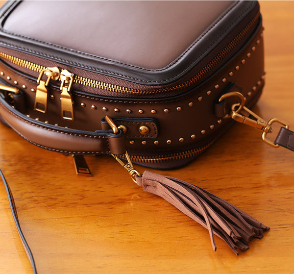 Women Genuine Leather Crossbody Bags Cube Bag Shoulder Bag Purses gift