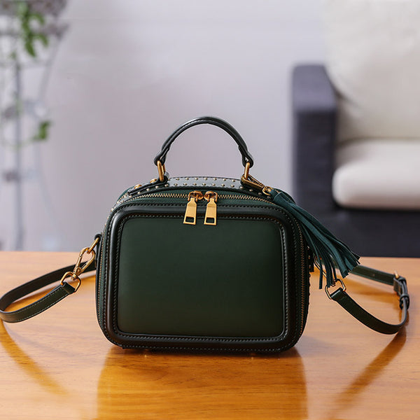 Women Genuine Leather Crossbody Bags Cube Bag Shoulder Bag Purses mini