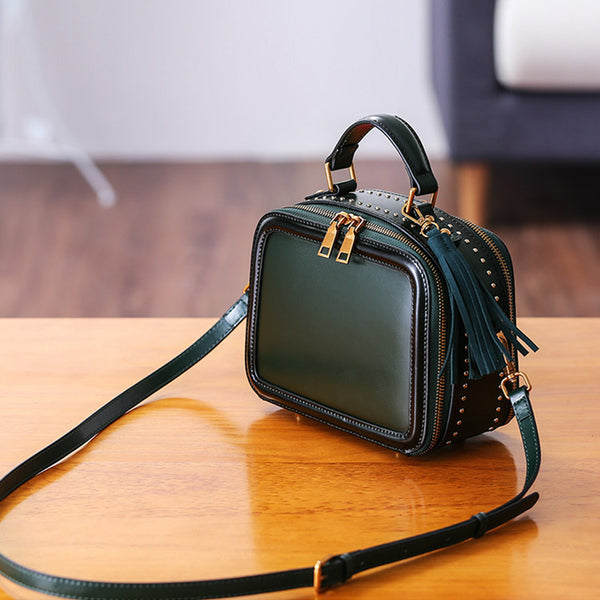 Women Genuine Leather Crossbody Bags Cube Bag Shoulder Bag Purses small