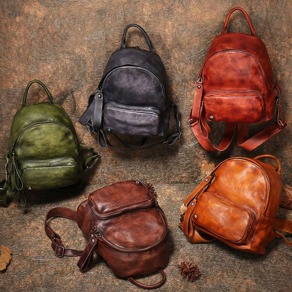 Women Leather Small Backpack Purse Cute Backpacks for Women cowhide