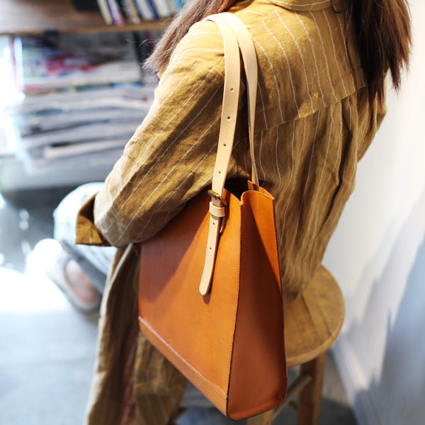 Women Minimalist Brown Leather Tote Bag Handbag Shoulder Bag for Women Boutique
