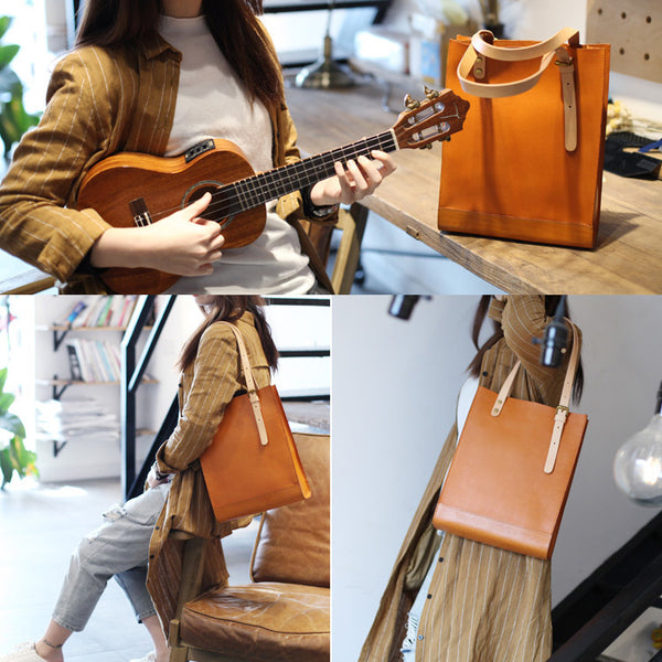 Women Minimalist Brown Leather Tote Bag Handbag Shoulder Bag for Women Details