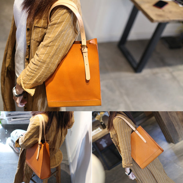 Women Minimalist Brown Leather Tote Bag Handbag Shoulder Bag for Women Genuine Leather