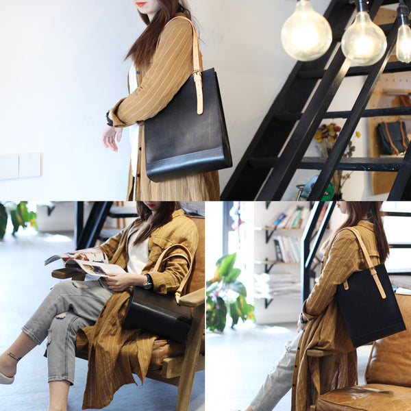 Women Minimalist Brown Leather Tote Bag Handbag Shoulder Bag for Women fashion