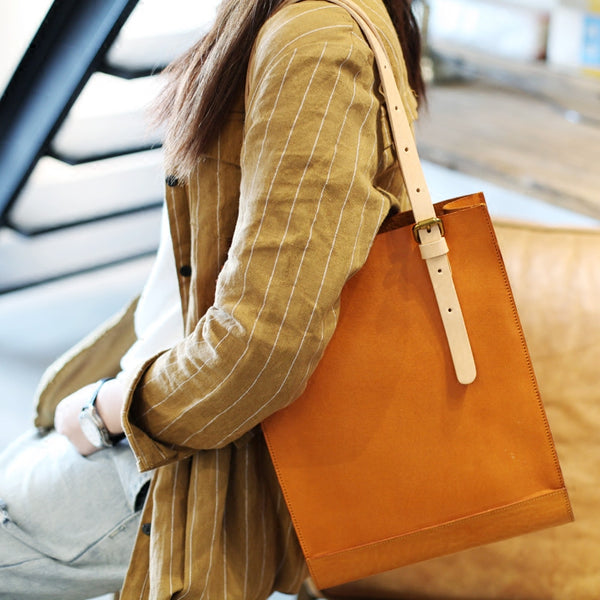 Women Minimalist Brown Leather Tote Bag Handbag Shoulder Bag for Women