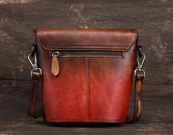 Women Satchel Bag Brown Leather Bucket Bag Crossbody Bags for Women small