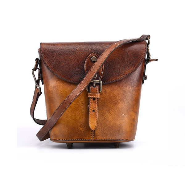 Women Satchel Bag Brown Leather Bucket Bag
