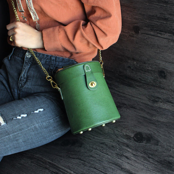 Women Vintage Leather Bucket Bag Crossbody Bags Handbags for Women Genuine Leather