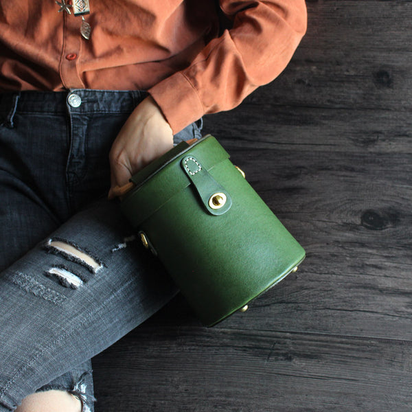 Women Vintage Leather Bucket Bag Crossbody Bags Handbags for Women Handmade