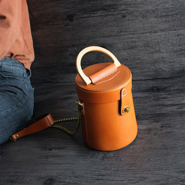 Women Vintage Leather Bucket Bag Crossbody Bags Handbags for Women small