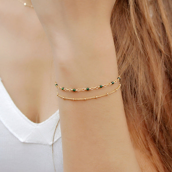 Women's 14K Gold Charm Bracelet Jade Beaded Bracelets for Women beautiful