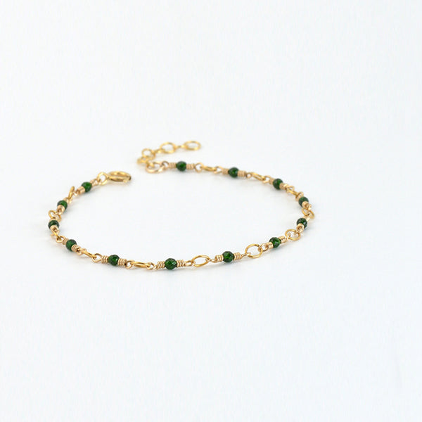 Women's 14K Gold Charm Bracelet Jade Beaded Bracelets for Women chic