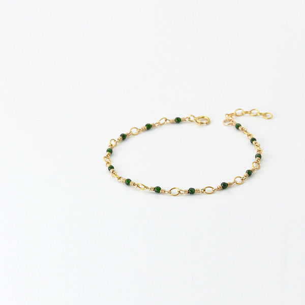 Women's 14K Gold Charm Bracelet Jade Beaded Bracelets for Women cute