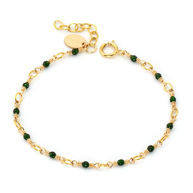 Women's 14K Gold Charm Bracelet Jade Beaded Bracelets for Women