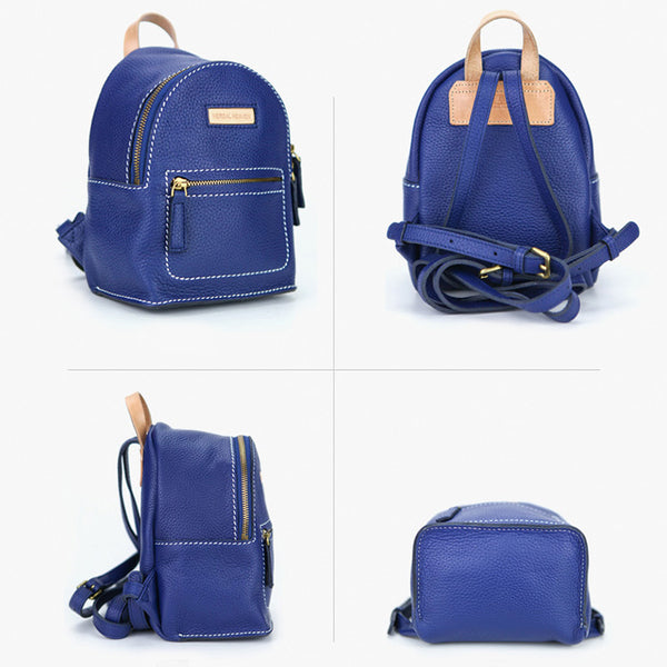Women's Blue Leather Mini Backpack Bag Purse Trendy Backpacks for Womens Nice